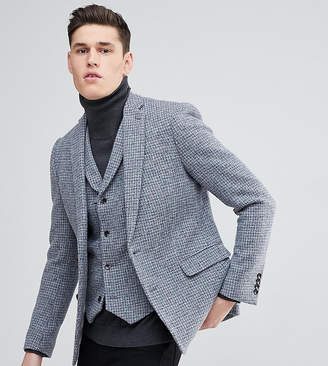 Asos Tall Slim Blazer In Harris Tweed 100% Wool Light Grey Check