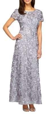 Alex Evenings Petite Rosette Shimmer Gown
