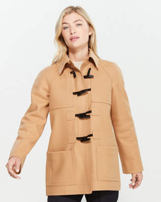 Jil Sander Navy Dark Beige Toggle Front Wool Coat