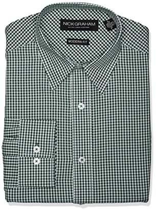 Nick Graham Men's Modern Fit Gingham Point Collar Dress Shirt