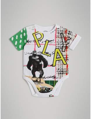 Burberry Play Graphic Print Cotton Bodysuit , Size: 6M