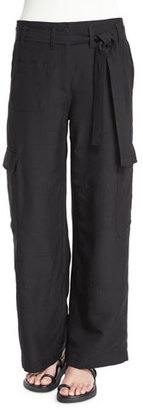 Helmut Lang Silk Suiting Straight Doupioni Cargo Pants, Black $495 thestylecure.com