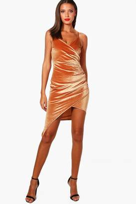 boohoo Tall Strappy Asymmetric Velvet Dress