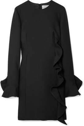 Valentino Ruffled Wool And Silk-blend Mini Dress - Black