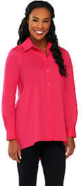 Susan Graver Woven Button Front Hi-Low HemShirt w/Pocket