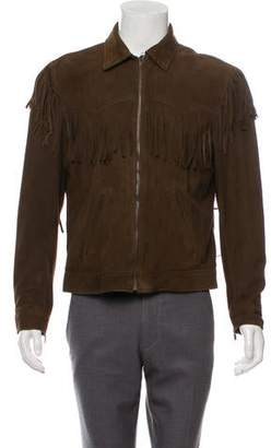 Saint Laurent Suede Fringe-Trimmed Jacket w/ Tags