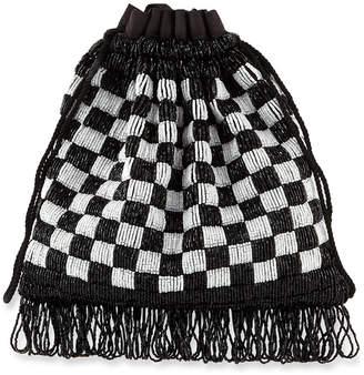Staud Beaded Gabbi Checkered Bag