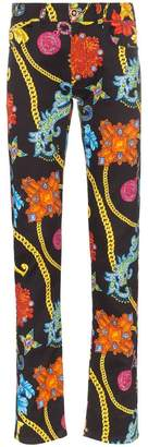 Versace jewellery print slim-fit jeans
