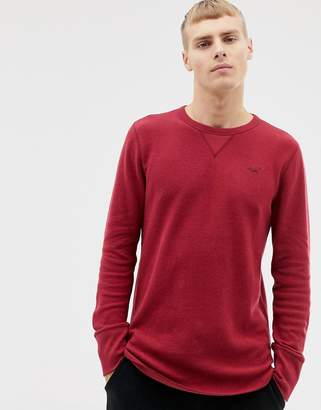 Hollister icon logo waffle long sleeve top in burgundy