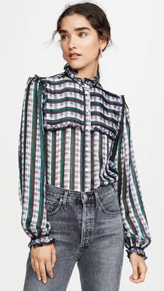 Jason Wu Grey Striped Plaid Ruffle Blouse