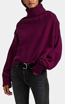 Taverniti So Ben Unravel Project Women's Mixed-Knit Wool-Cashmere Oversized Turtleneck Sweater - Mauve