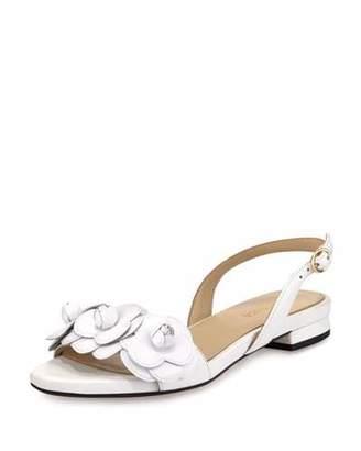 Taryn Rose Ida Flower Flat Slingback Sandal, Black $255 thestylecure.com