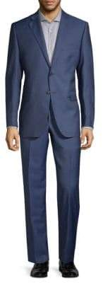 Saks Fifth Avenue Two-Piece Slim Fit Wool Silk Herringbone Suit