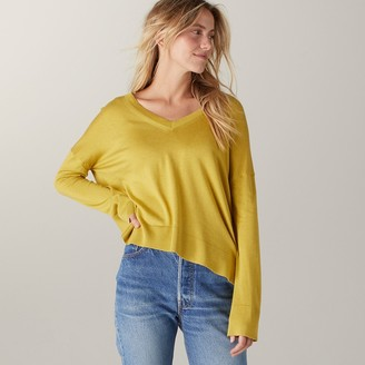 Naadam Volant Silk Cashmere V Neck High Low Saffron