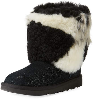UGG Classic Short Patchwork Fluff & Glitter Boot, Toddler