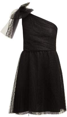 RED Valentino One Shoulder Point D'esprit Mini Dress - Womens - Black