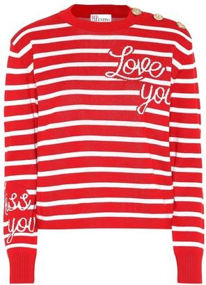 RED Valentino Striped cotton intarsia sweater