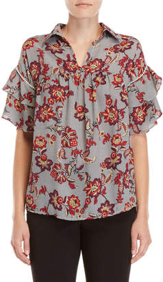 NY Collection Petite Floral Ruffle Blouse