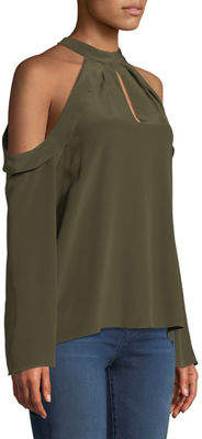 Ramy Brook Martie Cold-Shoulder Bell-Sleeve Crepe de Chine Blouse