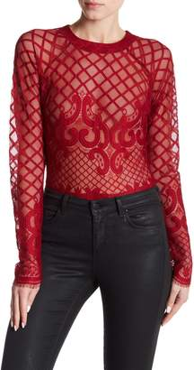 Romeo & Juliet Couture Patterned Mesh Bodysuit