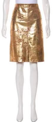 Tory Burch Knee Length Leather Skirt