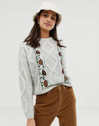 Pull&Bear floral knitted sweater in gray