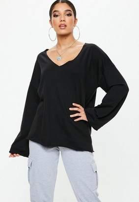 Missguided Black V Neck Raw Edge Wide Sleeve Sweatshirt