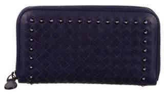 Bottega Veneta Leather Intrecciato Wallet Navy Leather Intrecciato Wallet