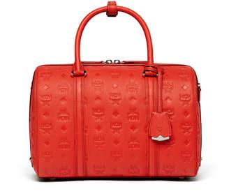 MCM Essential Boston Bag In Monogrammed Leather