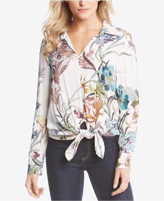 Karen Kane Floral-Print Tie-Front Blouse