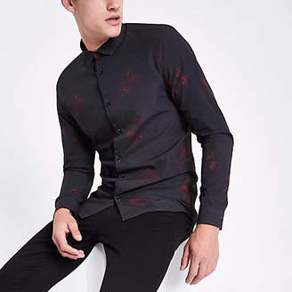 River Island Black poplin floral button long sleeve shirt