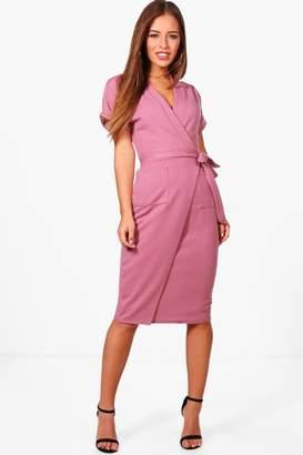 boohoo Petite Obie Tie Wrap Midi Dress