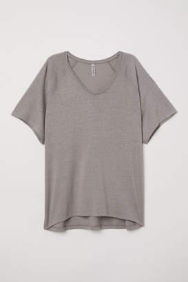 H&M Wide-cut Jersey Top - Brown