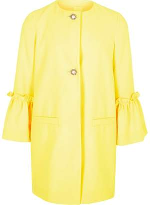 River Island Girls Yellow frill cuff pearl button coat