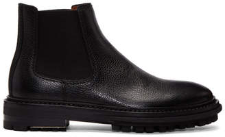 Lanvin Black Grained Leather Chelsea Boots