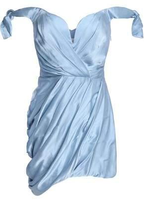 Zimmermann Off-The-Shoulder Draped Washed-Silk Mini Dress