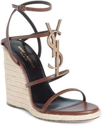 Saint Laurent Cassandra Logo Wedge Sandal