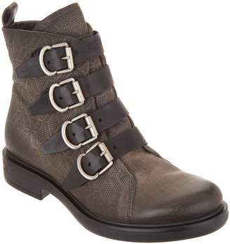 Miz Mooz Leather Buckle Ankle Boots - Crescent