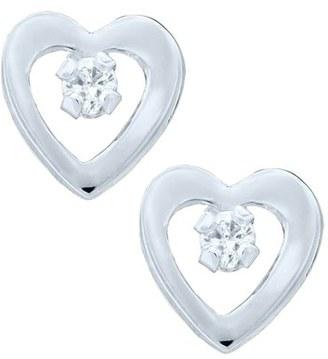 Infant Girl's Mignonette 14K White Gold & Diamond Heart Earrings $129 thestylecure.com