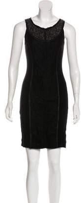 Illia Leather-Trimmed Bodycon Dress