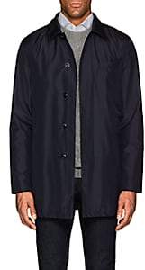 Hettabretz Men's Leather-Trimmed Silk Poplin Jacket-Navy