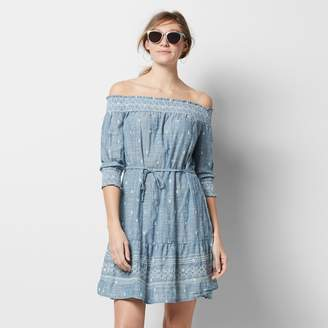 Women's SONOMA Goods for LifeTM Off-the-Shoulder Chambray Shift Dress $60 thestylecure.com