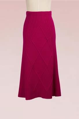 Kenzo Wool Midi Flare Skirt
