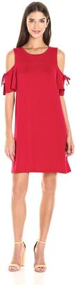 Kensie Women's Drapey French Terry Dress with Cold Shoulder