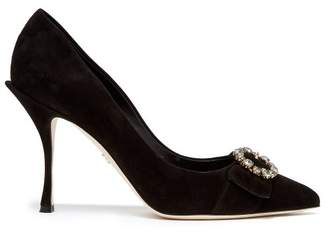 Dolce & Gabbana Crystal Embellished Suede Pumps - Womens - Black