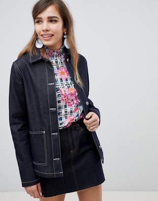 Asos Design DESIGN denim utility jacket in indigo