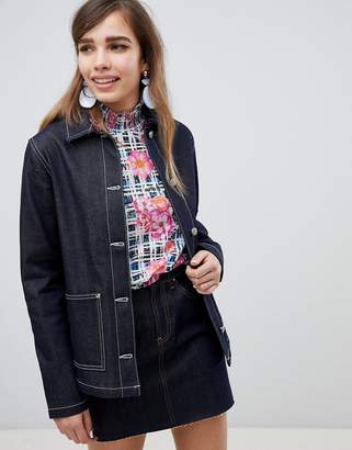 Asos DESIGN denim utility jacket in indigo