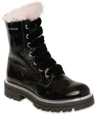 Simonetta Patent Leather & Fur Ankle Boots