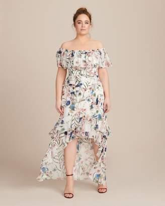 Badgley Mischka Hi-Low Ruffle Recut Gown