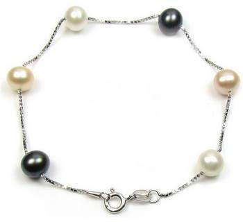 Blue Pearls Armbänder Armband Süßwasserperlen Schwarz, Weiß und Lavendel